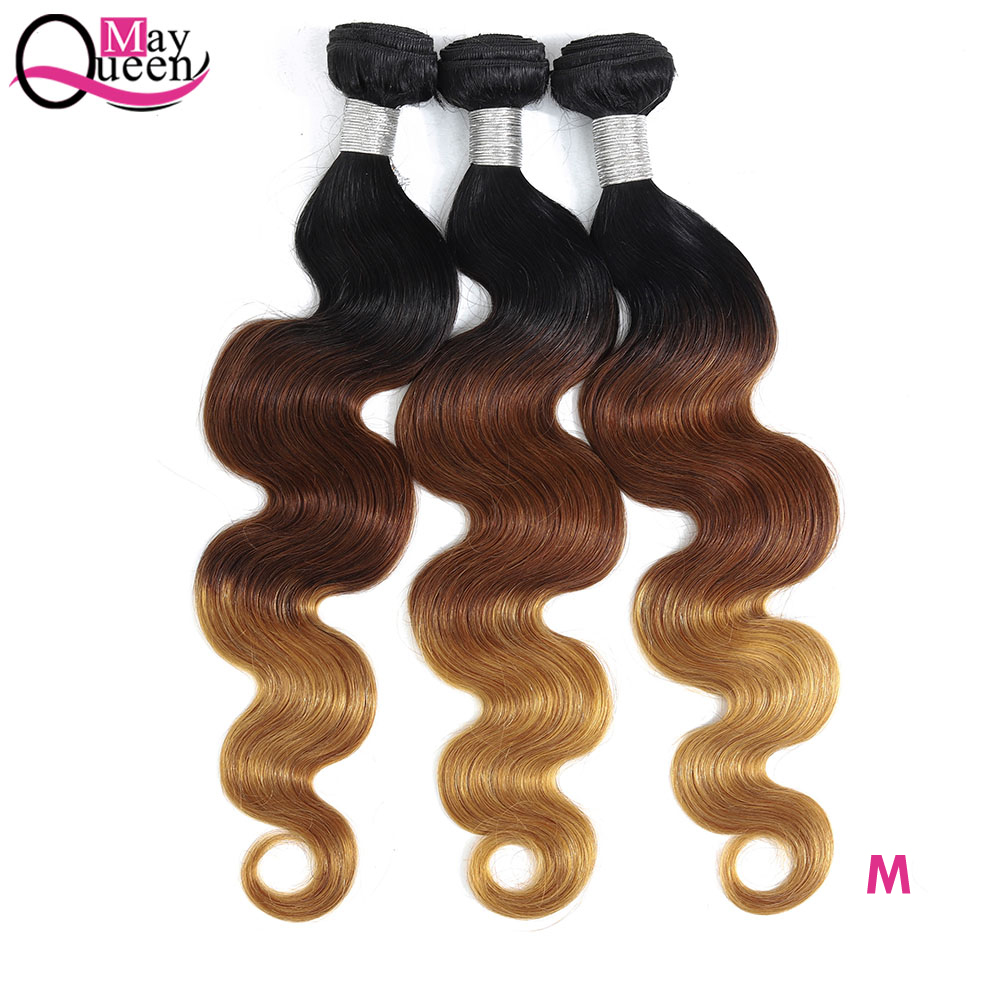 May Queen Ombre Brazilian Hair Weave Bundles Body Wave 3 Tone T1B/4/27 Remy Ombre Human Hair Bundles Can Buy 3/4 Bundles