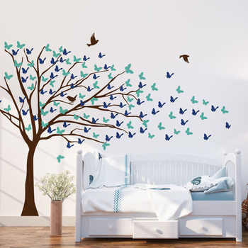 Vinyle Art Design décor à la maison grand arbre Stickers muraux pour enfants chambres enfants pépinière amovible Art Mural oiseaux décor décoration LY1863