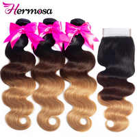 Hermosa Hair T1B/4/27 Ombre Bundles With Closure Human Hair Brazilian Body Wave 3 Bundles With Lace Closure Non Remy