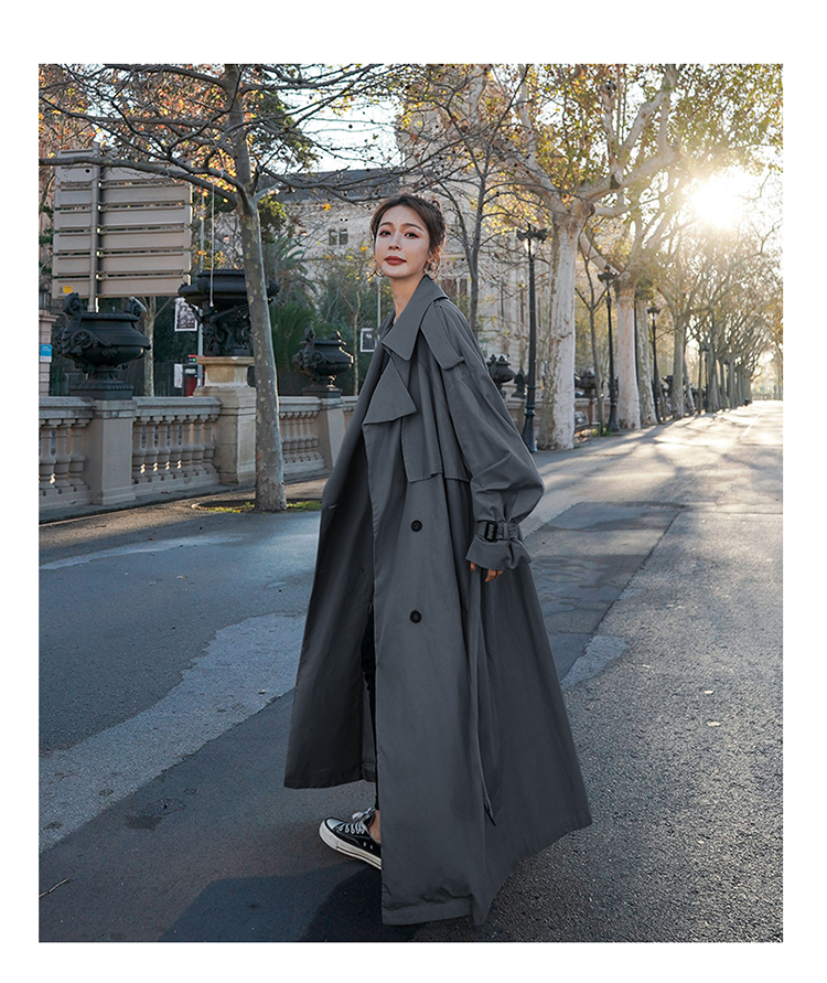 Hae8e49bbec274874858cd9edab1b31026 Korean Style Loose Oversized X-Long Women's Trench Coat Double-Breasted Belted Lady Cloak Windbreaker Spring Fall Outerwear Grey