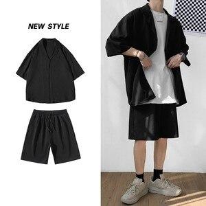 Image 2 - Style coréen hommes ensemble costume veste et Shorts solide mince à manches courtes poche unique genou longueur été surdimensionné vêtements homme