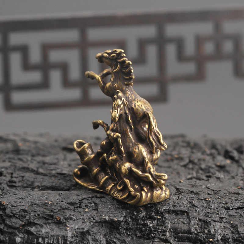 Kuningan Padat Berjalan Kuda Patung Kecil Ornamen Dekorasi Rumah Dupa Burner Ruang Tamu Dekorasi Hewan Miniatur Patung-patung