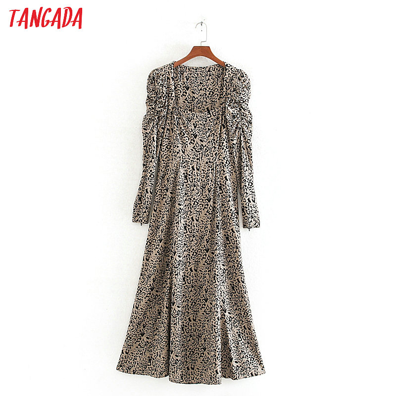 Tangada Fashion Women Leopard Print Spring Dress Square Collar Long Sleeve Ladies Long Dress Vestidos CE307