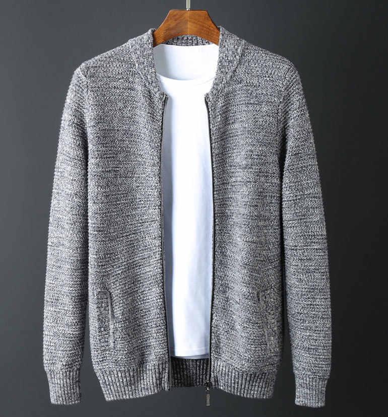 스탠드 칼라 남성 럭셔리 1010% 코튼 지퍼 겨울 솔리드 컬러 슬림 피트 스웨터 남자 플러스 사이즈 6XL