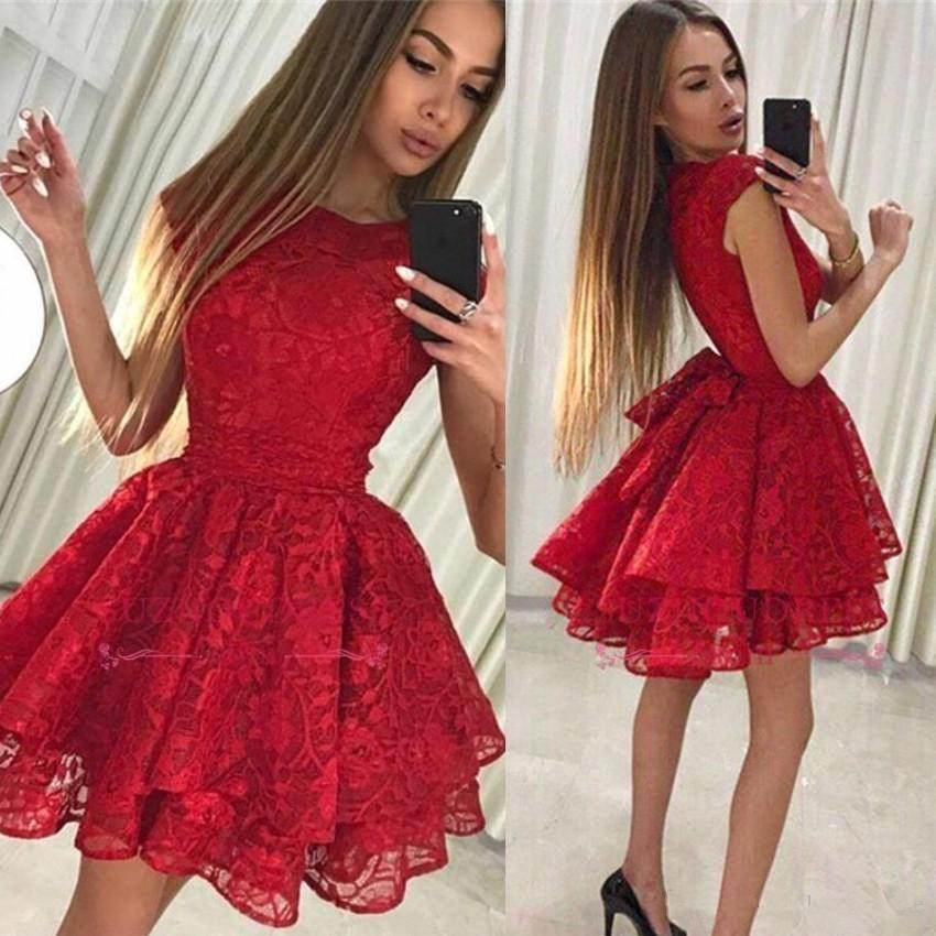 Red 2019 Elegant Cocktail Dresses A-line Scoop Lace Short Mini Homecoming Dresses
