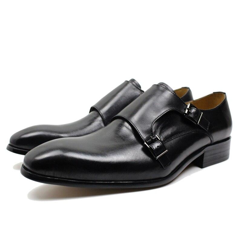 FELIX CHU Mens Echtes Leder Klassische Oxford Kleid Schuhe Doppel Mönch Schnalle Plain Kappe Mann Hochzeit Schuhe Gestreiften Muster-in Formelle Schuhe aus Schuhe bei  Gruppe 2