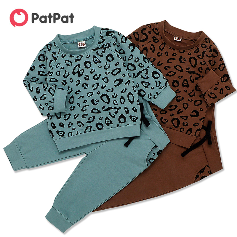PatPat 2020 New Spring and Autumn 2-piece Baby / Toddler Boy Leopard Print Top and Pants Set for Kids Boy and Girl Clothing Set
