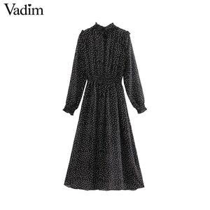 Image 2 - Vadim women polka dots black midi dress ruffled collar long sleeve elastic waist fashion casual A line dresses vestidos QD096