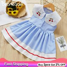 Bear Leader 2020 Girl Dress Summer Plaid Dress High Waist Design Girl Fashion Dress Side Lacing