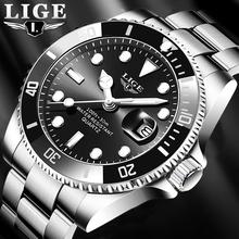 Relogio Masculino LIGE Top marka luksusowa moda zegarek dla nurka mężczyźni 30ATM wodoodporny data zegar Sport zegarki męskie zegarek kwarcowy tanie tanio 22cm Moda casual QUARTZ 3Bar Klamerka z zapięciem CN (pochodzenie) STAINLESS STEEL 12mm Hardlex Kwarcowe zegarki Papier