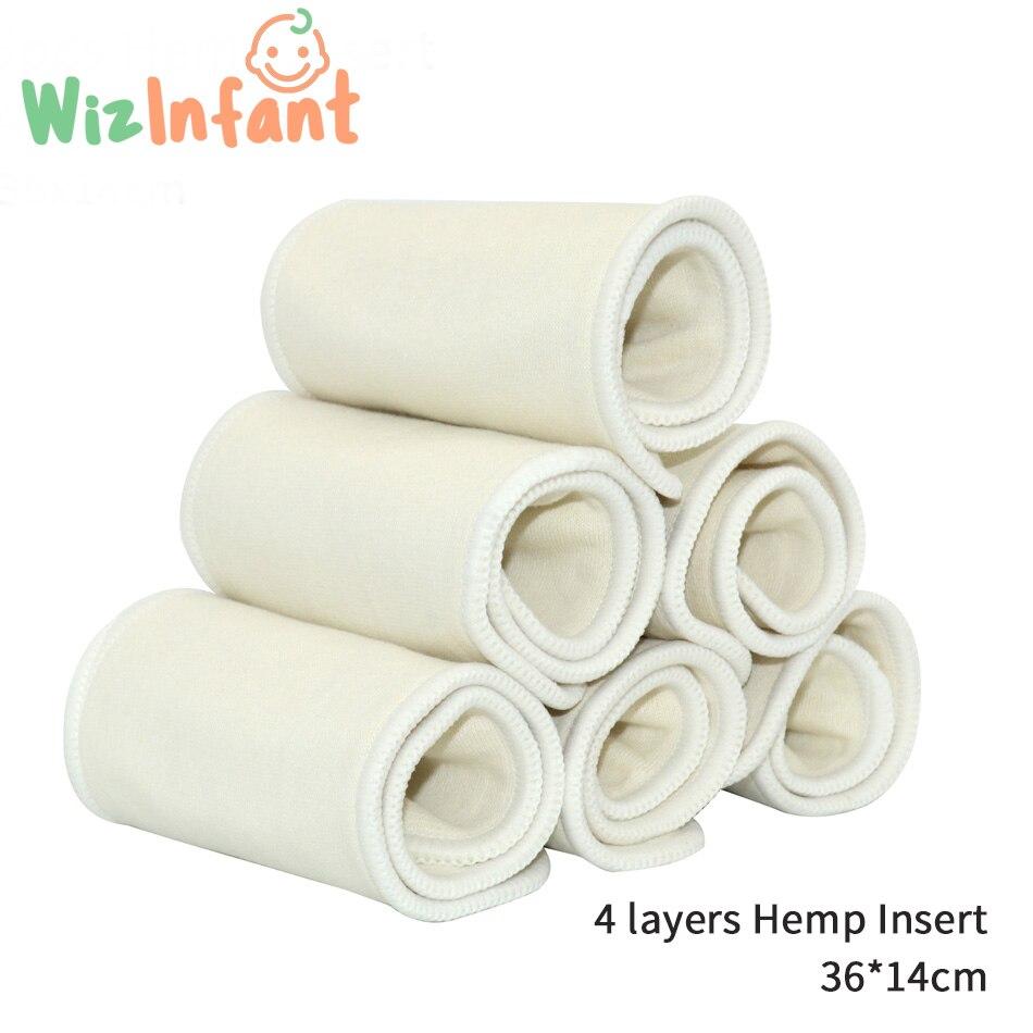 WizInfant 5 шт 4-слойные вставки для подгузников из конопляного хлопка, подушечки для подгузников, бустер для одноразовых тканевых подгузников. К...