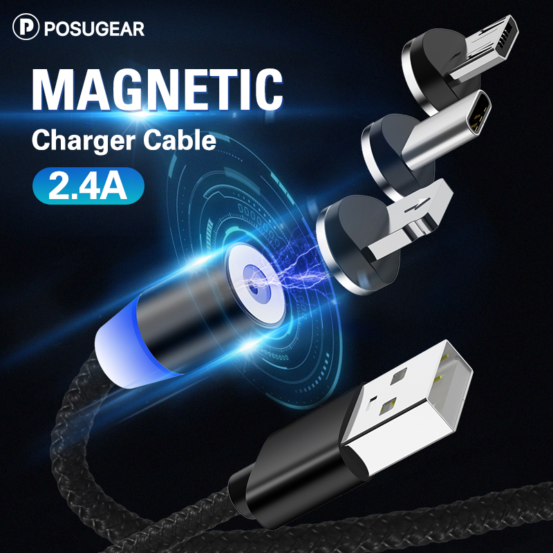 Posugear 1M 2M Magnetic Cable Micro Usb Type C Fast Charging Microusb Type-C Magnet Charger Wire Usb C For Iphone11 Pro X Xs Xr