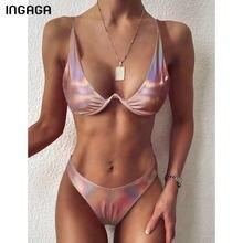 INGAGA Push Up bikini 2021 mayo kadınlar degrade deri mayolar tanga yüksek kesim Biquini mayo yaz plaj kıyafeti yeni