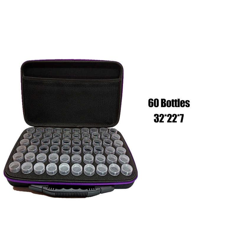 7 색 30/60 병 다이아몬드 페인팅 크로스 스티치 액세서리 도구 상자 컨테이너 다이아몬드 보관 가방 케이스 자수 모자이크