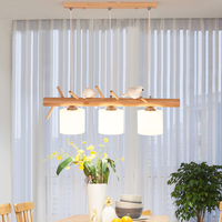 Modern Led Light Pendant Lamp Living Room Restaurant Wood HangLamp Bird Lamp Cafe Kitchen Fixtures Lighting Dinning Room Lights