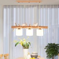 Modern Led Light Pendant Lamp Living Room Restaurant Wood HangLamp Bird Lamp Cafe Kitchen Fixtures Lighting Dinning Room Lights