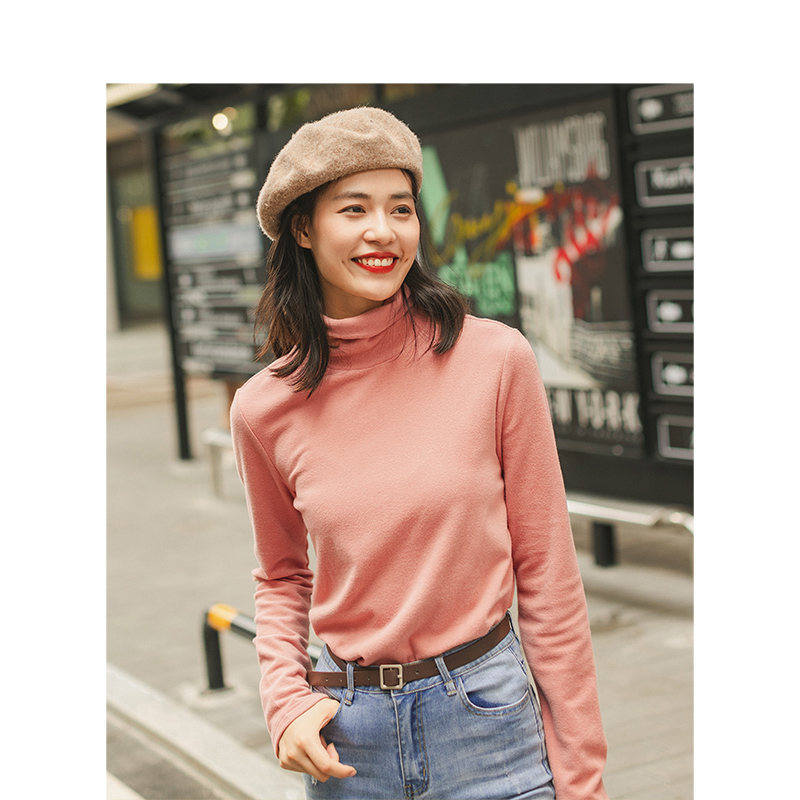 INMAN Spring Autumn Winter Viscose Elastic High Collar Fashion All Matched Casual Literary Women T-shirt 1