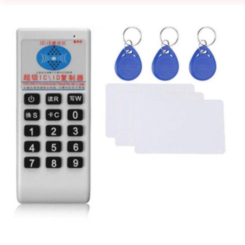 Lector de tarjetas RFID de mano escritor 125 KHz-13,56 MHZ copiadora duplicadora ID Tags programador con tarjeta de llave replicador ID/IC tarjeta Cloner 125KHz RFID duplicador copiadora escritor programador lector escritor Tarjeta de Identificación Cloner & key