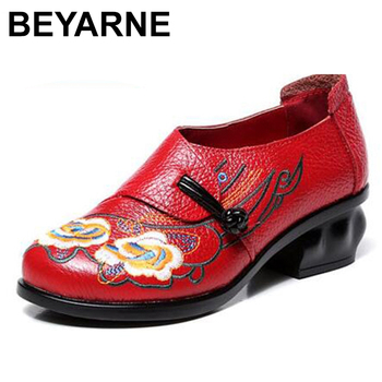BEYARNE 2020spring autumn women shoes retro thick heels soft soled shoes shoes for women embroidered real leather shoes