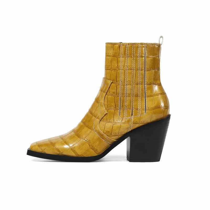 Kare ayak kış Chelsea yarım çizmeler kadınlar için tıknaz yüksek topuk çizmeler bayanlar parti patik siyah mavi sarı kahverengi beyaz çizmeler