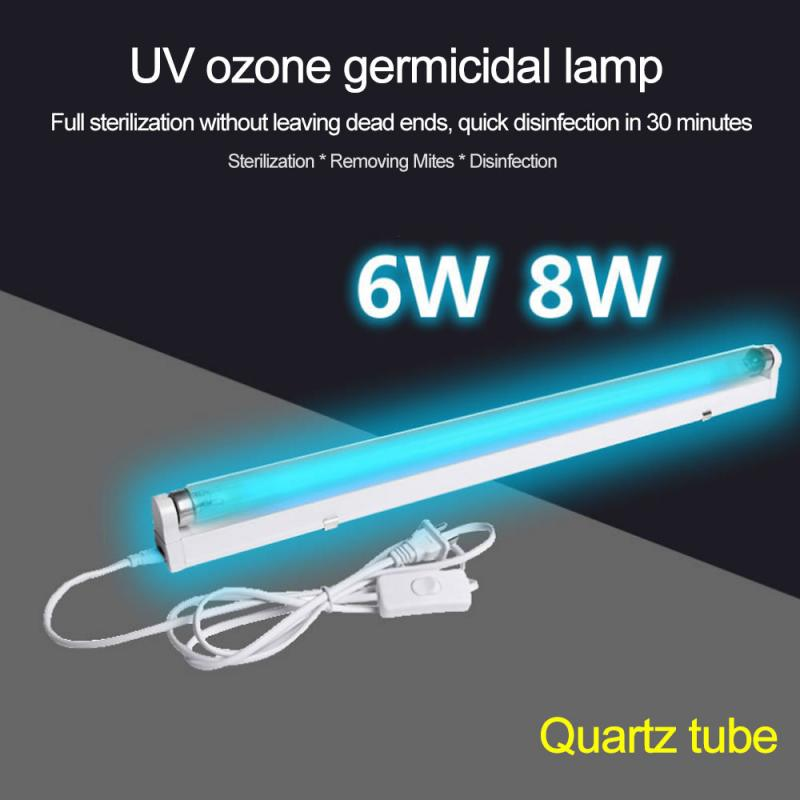 6W 8W UV Lamp Tube Quartz Germicidal Disinfection 110v 220v Ultraviolet Quartz Linear Light With Ozone Generator Sterilization