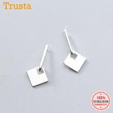 Trusta S925 связанные квадратные серьги гвоздики Настоящее 925 пробы серебряные модные милые ювелирные изделия для женщин вечерние подарки DA459