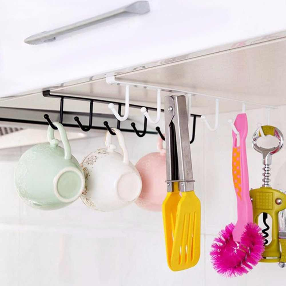 U typ Design 6 wieszak organizator do łazienki i kuchni bez szwu wiszące Multi haki wino kawy pojemnik na termos uchwyt naczynia stojaki