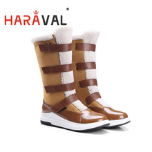 Shoes Boots Platform Thick-Bottom Waterproof Winter High-Quality Patchwork HARAVAL Wool