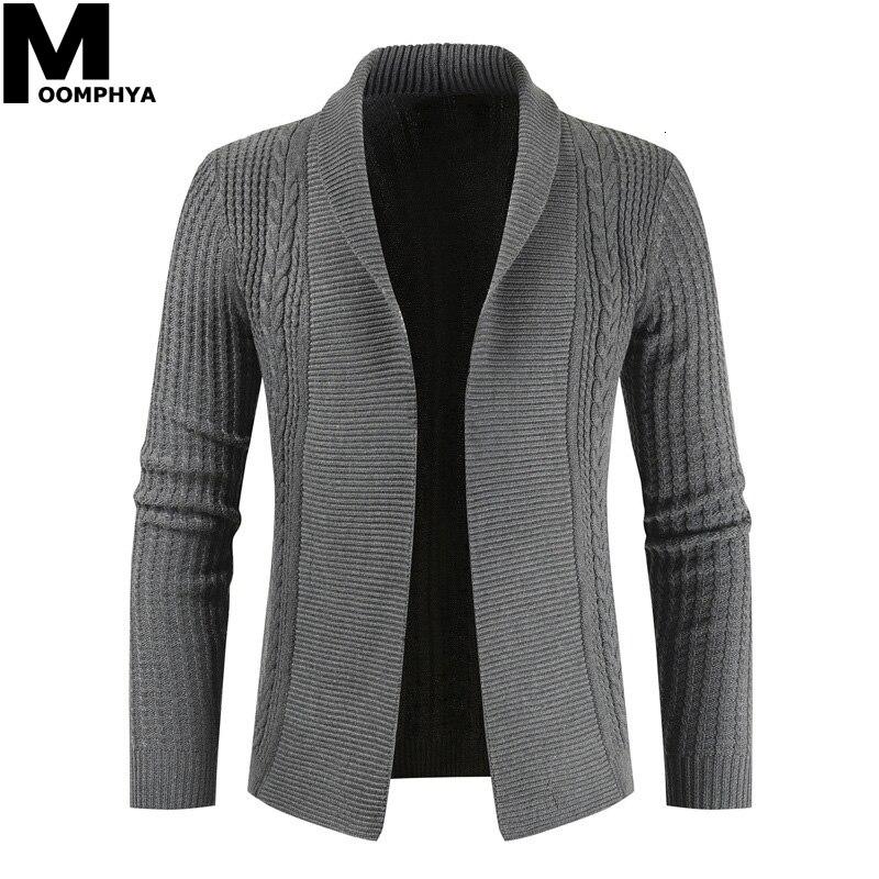 Moomphya Knitted Long Sleeve Cardigan Men Sweater Streetwear Jacquard Sweater Men 2019 Winter Sweater Male Casual Turtleneck Men
