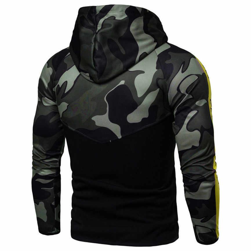 겨울 망 후드 티 스웨터 후드 자켓 코트 망 위장 풀오버 긴 소매 후드 티셔츠 탑스 블라우스 streetwear