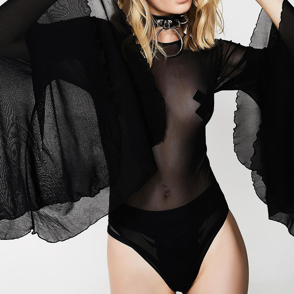 Sale Mesh Lace Bodysuit Women Sexy Backless see through lingeries sexy lingerie black flare sleeve 2020 Femlae Overalls D30 Teddies & Bodysuits  - AliExpress