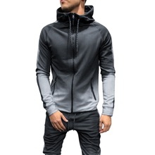 HEFLASHOR Men Fashion Hoodies 3D Gradient Zipper Cardigan Hi