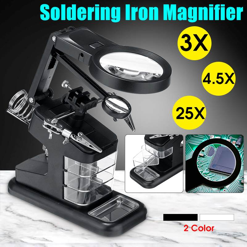 Durable Soldering Iron Station Stand Welding Magnifying Glass Clip Clamp 3 Hand Helping Desktop Magnifier Soldering Repair Tool