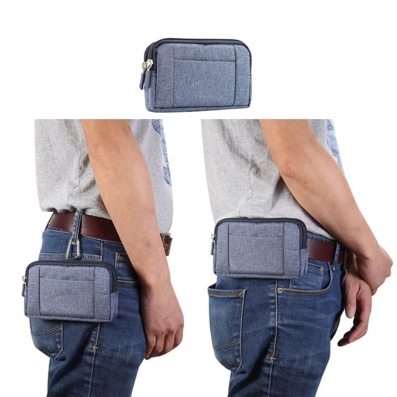 Portable Phone Pouch Dual Zippers Belt Clip Cowboy Cloth Casual Waist Bags For 5.2/5.5-6.3/6.4 Inches Double Phones