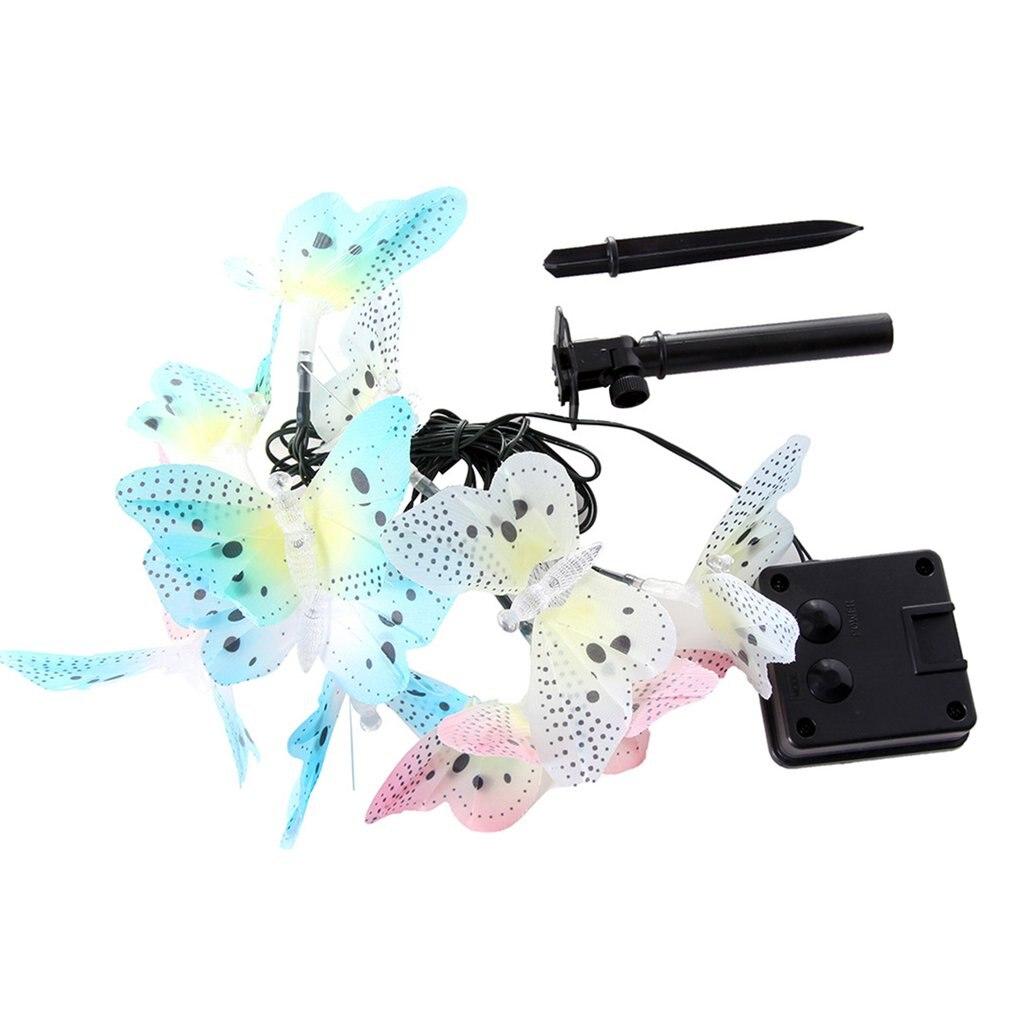 Solar Powered 12LED Butterfly Fiber Optic Fairy String Outdoor Garden Light Lamp