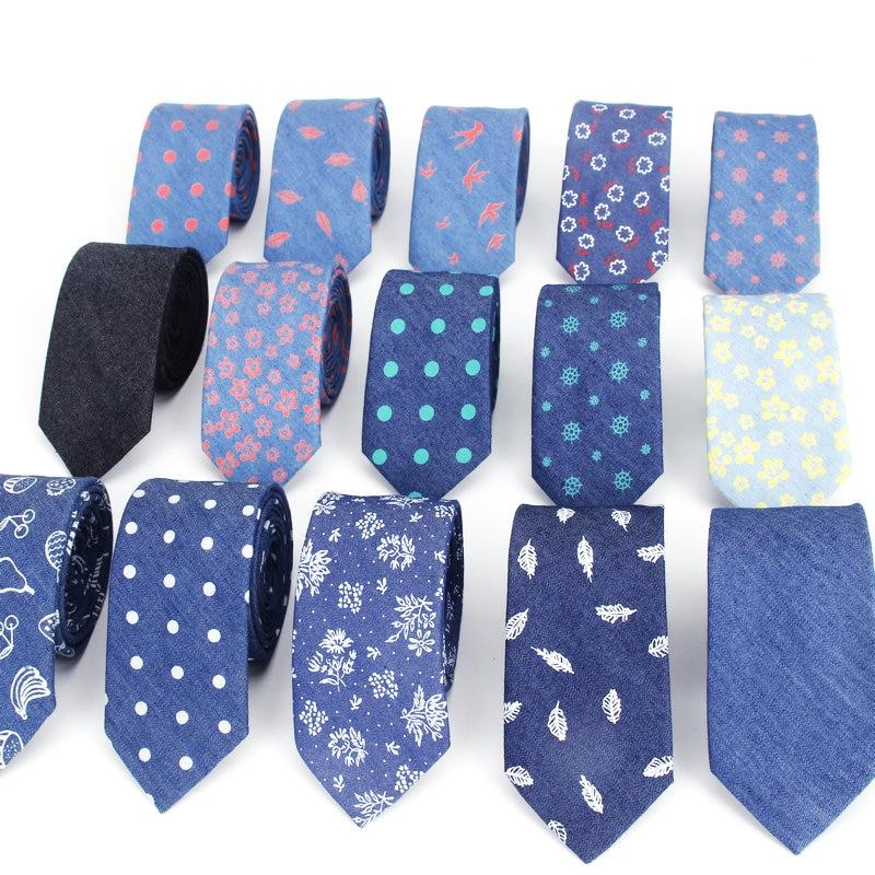 Cotton Denim Ties Men's Blue Solid Color Tie Narrow 6cm Width Necktie Slim Skinny Cravate Narrow Flower Dot Business Neckties
