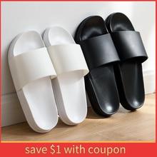 Été maison hommes pantoufles Simple noir blanc amoureux chaussures anti-dérapant salle de bain diapositives tongs intérieur femmes plate-forme pantoufles