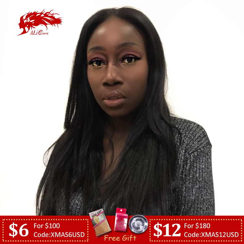 Ali Queen Hair Brazilian Remy Human Hair Straight Full Lace Wigs Pre Plucked 130% Denisty 1b/Blonde 613 Lace Wigs H/8A