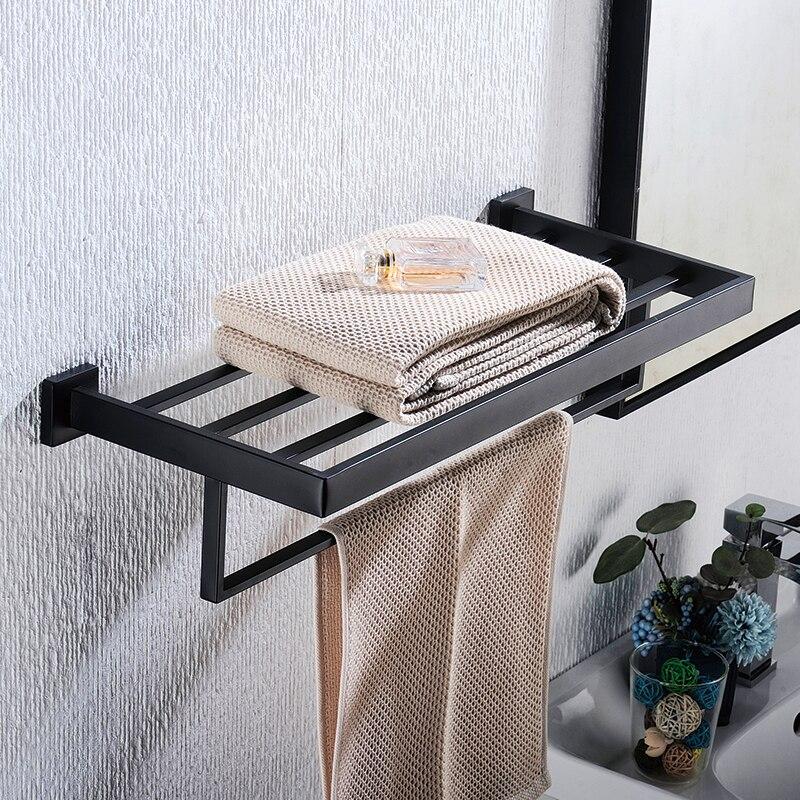 Матовый черный нержавеющая сталь ванная комната фурнитура аксессуары набор для органайзер настенный навесной полотенце штанга полка крючок бумага держатель