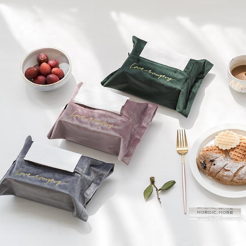 1pc Nordic Embroidery Velvet Tissue Box Storage Holder Cover Car