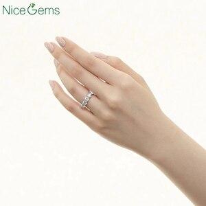 Image 4 - NiceGems 14K 585 or blanc Moissnite éternité bande 3mm/3.5mm/4mm/5mm rond brillant moissanitebague de mariage alliance