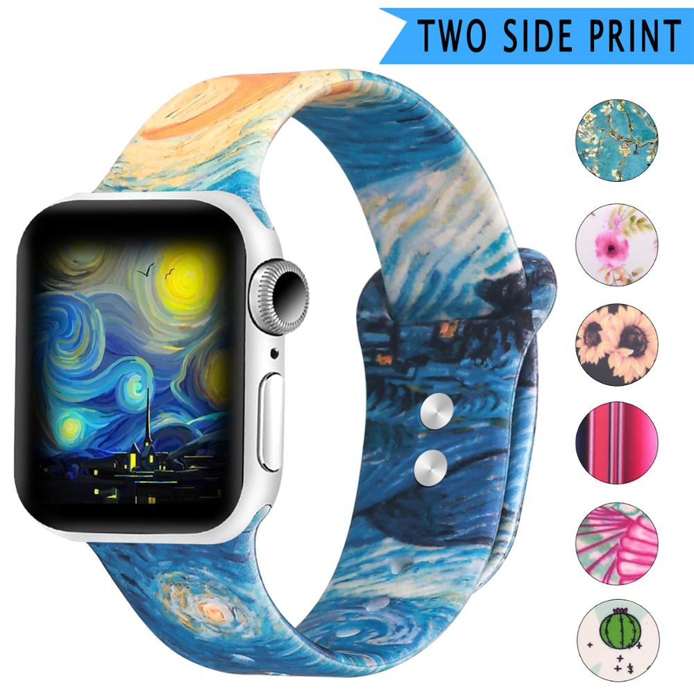 Soft Sport Silicone Band For Apple Watch 42mm 38mm 40mm 44mm Double Side Print Flower Silicone Strap For Iwatch Series 5 4 3 2 1