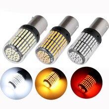 2x S25 1156 BA15S P21W 1157 BAY15D LED lumières ampoules de voiture 3014 144 SMD Canbus lumière clignotant ampoule pas de lampe stroboscopique 12V blanc rouge