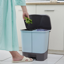 Kitchen Trash Can Bathroom Dry and Wet Sorting Household Environmental Waste Bin Two-Category Garbage