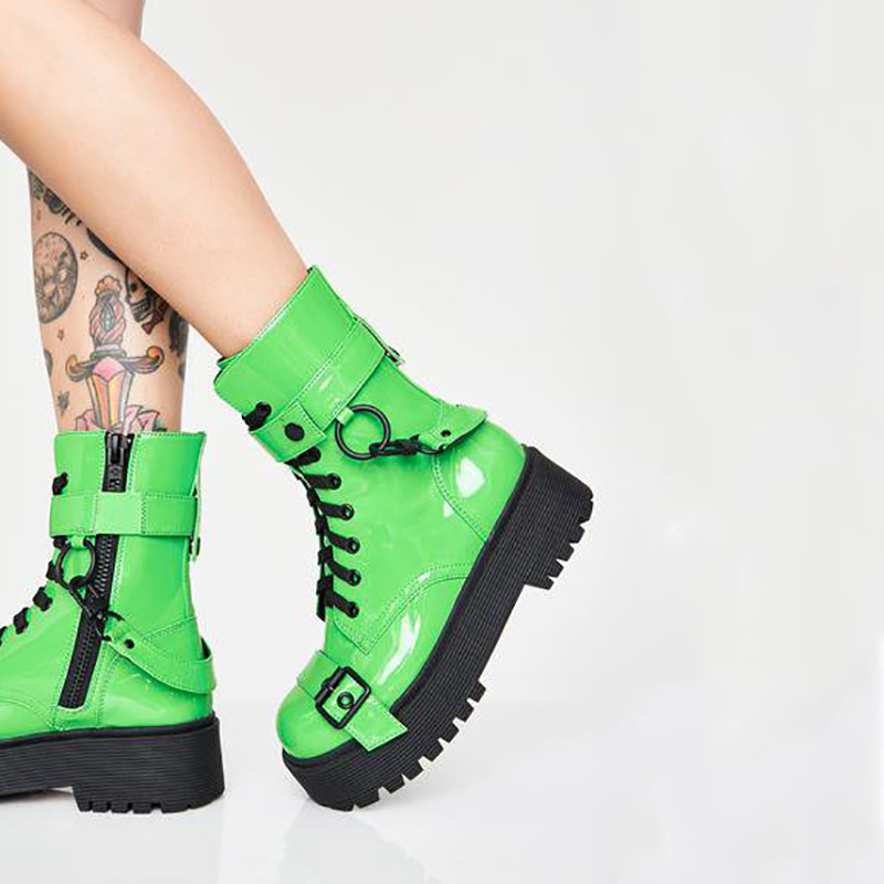 MORAZORA 2020 ใหม่แฟชั่นรองเท้าบู๊ตรถจักรยานยนต์ผู้หญิง punk รองเท้า lace up buckle ฤดูใบไม้ร่วงแพลตฟอร์มรองเท้า zip cool ผู้หญิงรองเท้าข้อเท้า-ใน รองเท้าบูทหุ้มข้อ จาก รองเท้า บน   3
