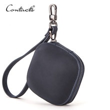 CONTACT'S Genuine Leather Small Money Bag Casual Men Wallets Mini Coin Purses Key Holder For Earphone Pouch Bag Case Monedero(China)