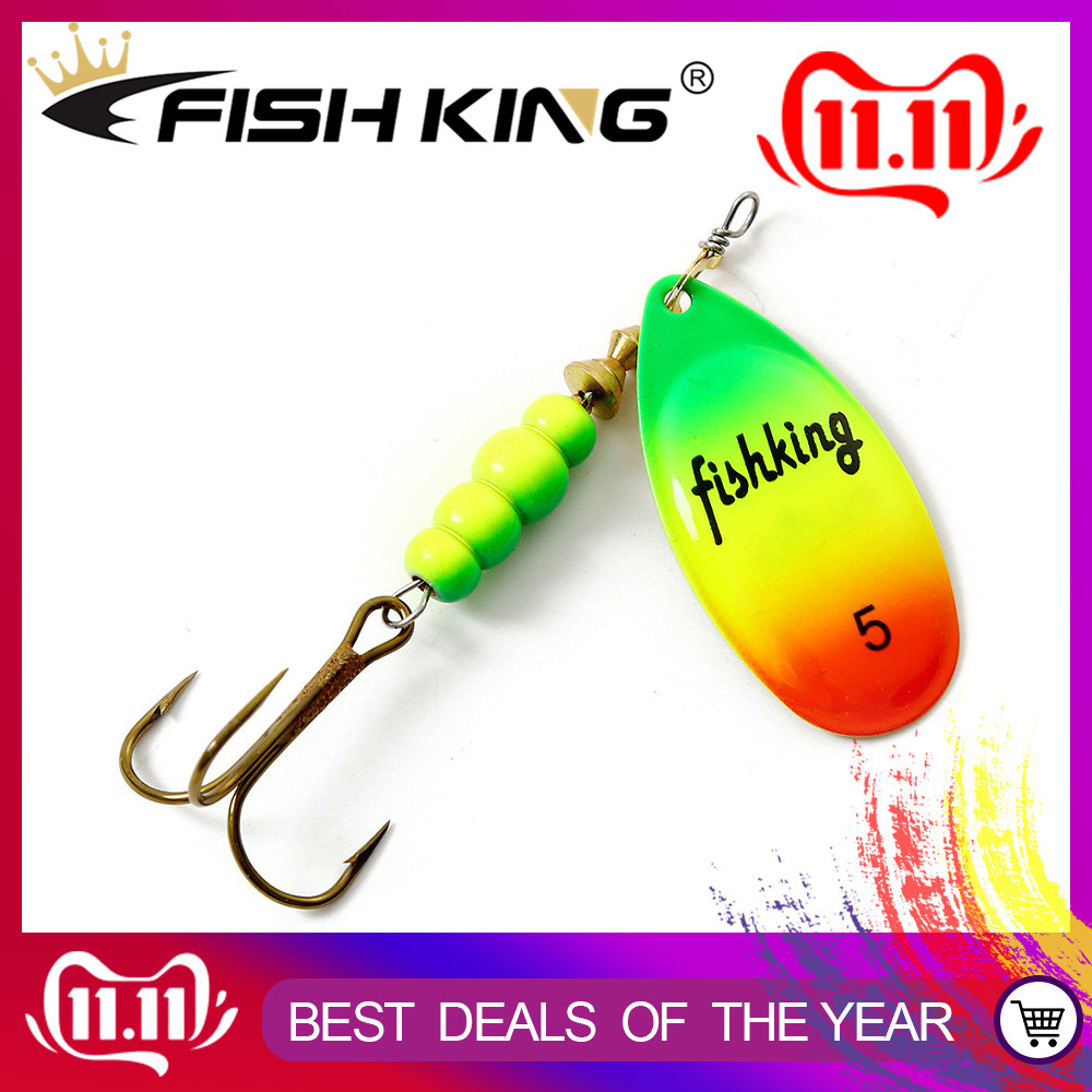 FISH KING Spinner Bait 1pc 3.2g 4.3g 6.1g 9.6g 13.6g Fishing Lure Bass Hard Baits Spoon With Treble Hook Tackle High Quality
