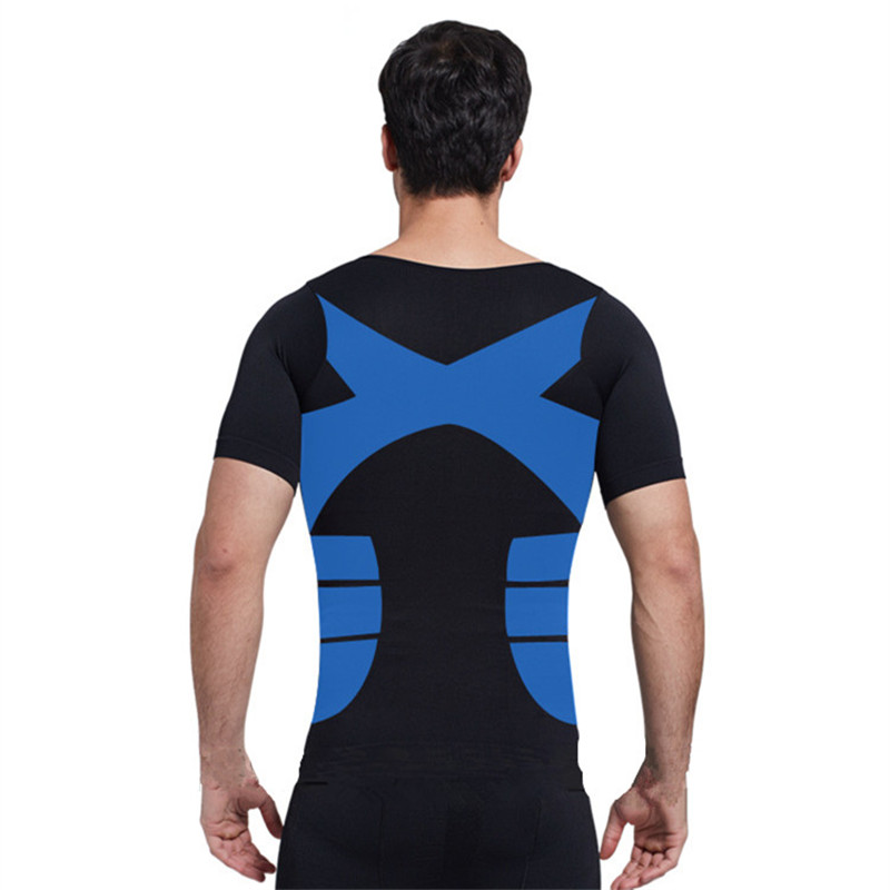 M-3XL Plus Men Body Shaper Belly Chest Tummy Shirt Control Shapewear Abdomen Posture Corrector Compression Modeling Underwear