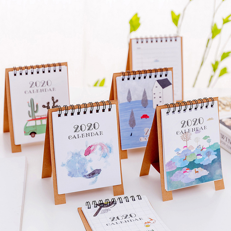 2020 Hand Drawing Fresh Cartoon Mini Flamingo Desktop Paper Calendar Dual Daily Scheduler Table Planner Yearly Agenda Organizer