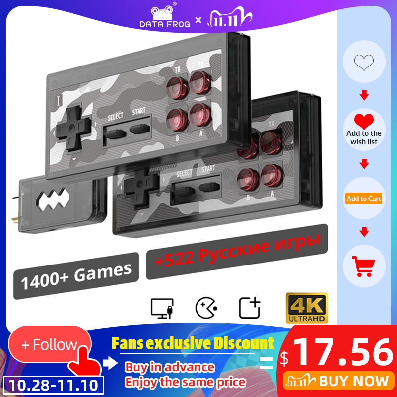 DATA FROG 4K Video Game Console Built in 1400  Classic NES Games Wireless Controller 8 Bit HDMI Retro Mini Console Dual Player